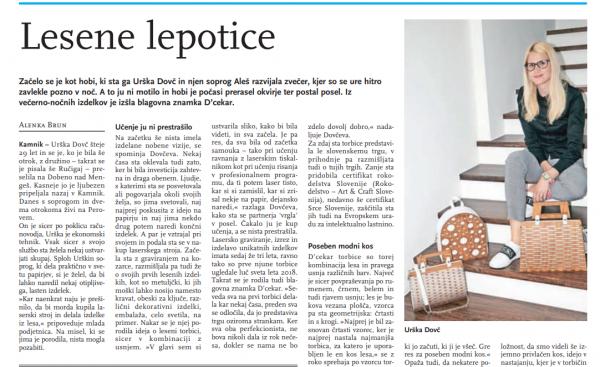 Članek v časopisu Kamničan/ka
