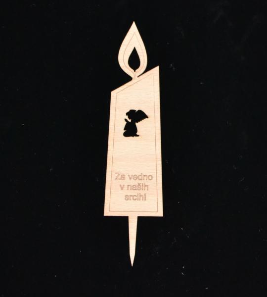 Lesena sveča z angelčkom